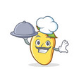 chef with food mango character cartoon mascot vector image vector image
