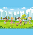 children are planting flowers in a park vector image