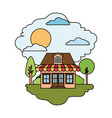 colorful scene of country house with attic and vector image vector image