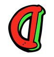 comic cartoon letter D vector image