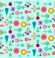 cute blue pattern with flat simple color flowers vector image