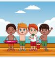 cute kids at beach cartoon vector image vector image