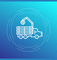 forwarder logger logging truck line icon vector image vector image