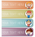 four banner templates with happy kids vector image vector image