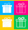 gift box sign four styles of icon on four color vector image vector image