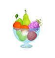 glass bowl with fresh fruits sweet pears apples vector image vector image