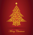 Gold Christmas Tree With Red Background vector image vector image