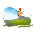 guy in mountains hiker or backpacker tourist vector image vector image