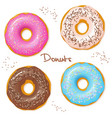 hand drawn set of four sweet donuts - top view vector image