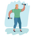 hand sketch of a man is training with dumbbells vector image