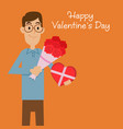 man holding flower bouquet and heart shape present vector image