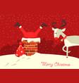 merry christmas cardsanta claus stuck vector image