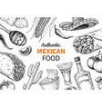 mexican food and drink sketch tequila sho vector image vector image