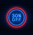 neon 30 off text banner night sign vector image vector image