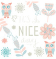 owls and flowers funny card fantasy image card vector image