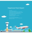 Plane Takes Off from the Airport Travel Concept vector image