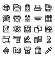 printer and plotter outline icons vector image