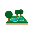 River in a summer forest cartoon icon vector image vector image