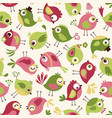 seamless cute cartoon birds pattern background wal vector image vector image