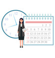 secretary with document and calendar time clock vector image vector image