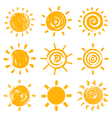 Set of drawn sun symbols vector image vector image