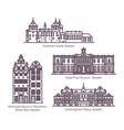 set sweden architecture landmarks in line vector image vector image