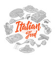 sketch italian food elements collection vector image