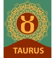 Taurus Zodiac icon with mandala print vector image