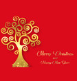 tree life isolated on red background gold leaf vector image vector image