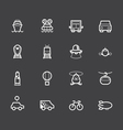 vehicle element white icon set on black background vector image vector image