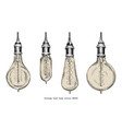 vintage bulb lamp hand drawing engraving style vector image vector image