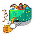 with trumpet kids toys in the cartoon box vector image vector image