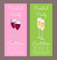 cocktail party invitation info poster set red wine vector image