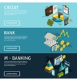 Atm Isometric Banner Set vector image