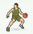 basketball player action cartoon graphic vector image