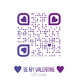 be my valentine text qr code in purple on white vector image vector image