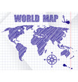 blue ink sketched navigation world map on school vector image