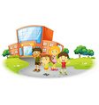 Boys and girls standing on the school ground vector image vector image