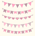 Bunting set patel pink and brown scrapbook design vector image vector image