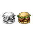 burger in vintage style black and color vector image