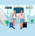 business trip or holiday relaxation airport couple vector image vector image