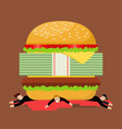 businessmen under hamburger crisis vector image vector image