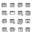 calendars for time planning glyph icons set vector image vector image