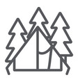 camping tent line icon travel and tourism vector image vector image