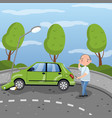 car bumped at the lamp post in vector image vector image