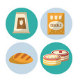 carbohydrates food icons vector image