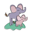 cartoon elephant mom and calf over grass in vector image vector image
