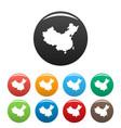 china map icons set vector image
