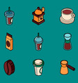 coffee colored outline isometric icons vector image vector image