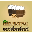 Cold beer poster Oktoberfest beer festival vector image